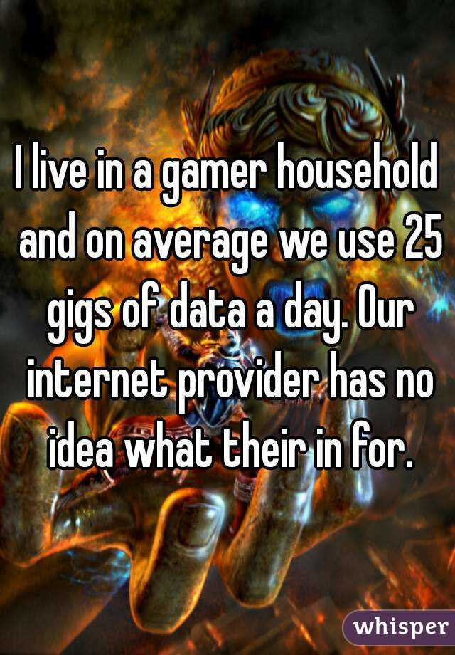 I live in a gamer household and on average we use 25 gigs of data a day. Our internet provider has no idea what their in for.