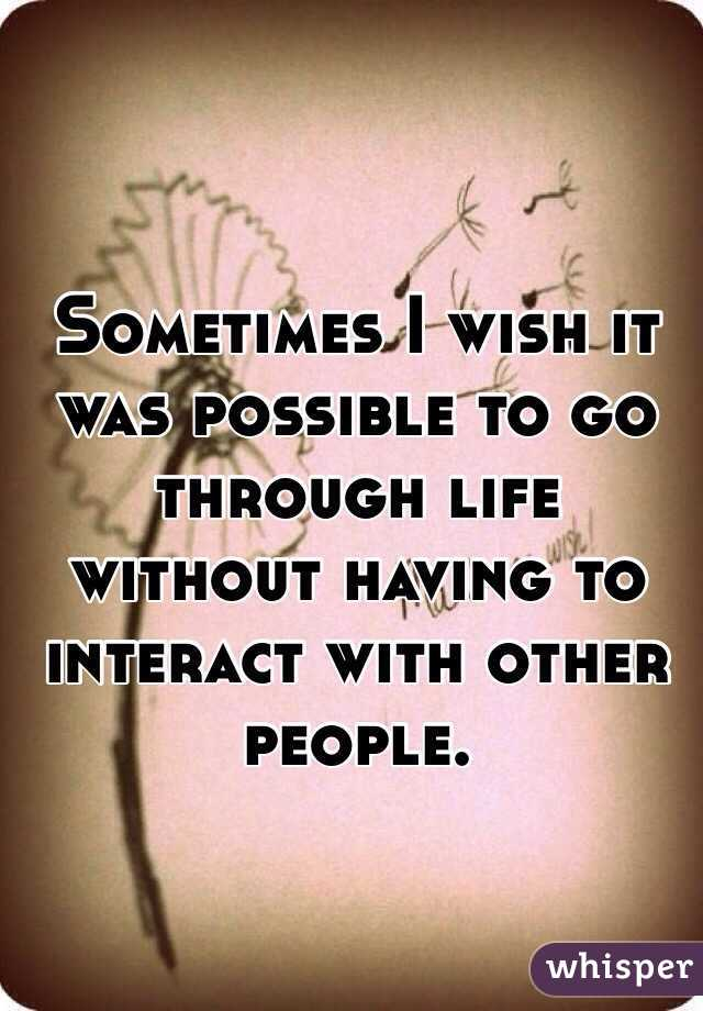 Sometimes I wish it was possible to go through life without having to interact with other people.