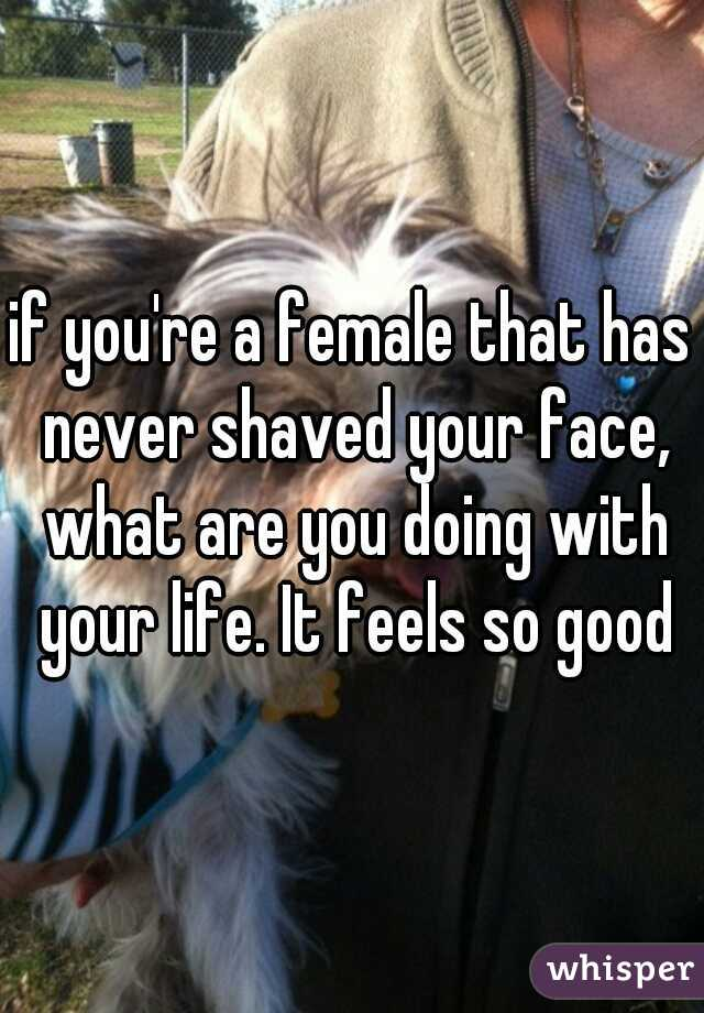 if you're a female that has never shaved your face, what are you doing with your life. It feels so good