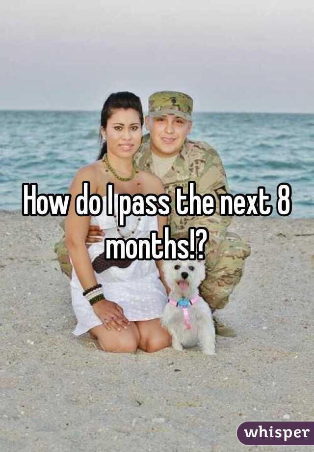 How do I pass the next 8 months!?