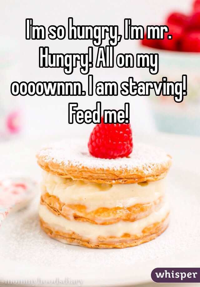 I'm so hungry, I'm mr. Hungry! All on my oooownnn. I am starving! Feed me!