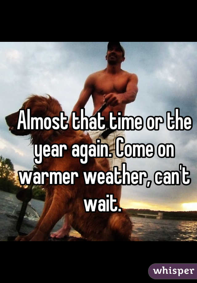 Almost that time or the year again. Come on warmer weather, can't wait.