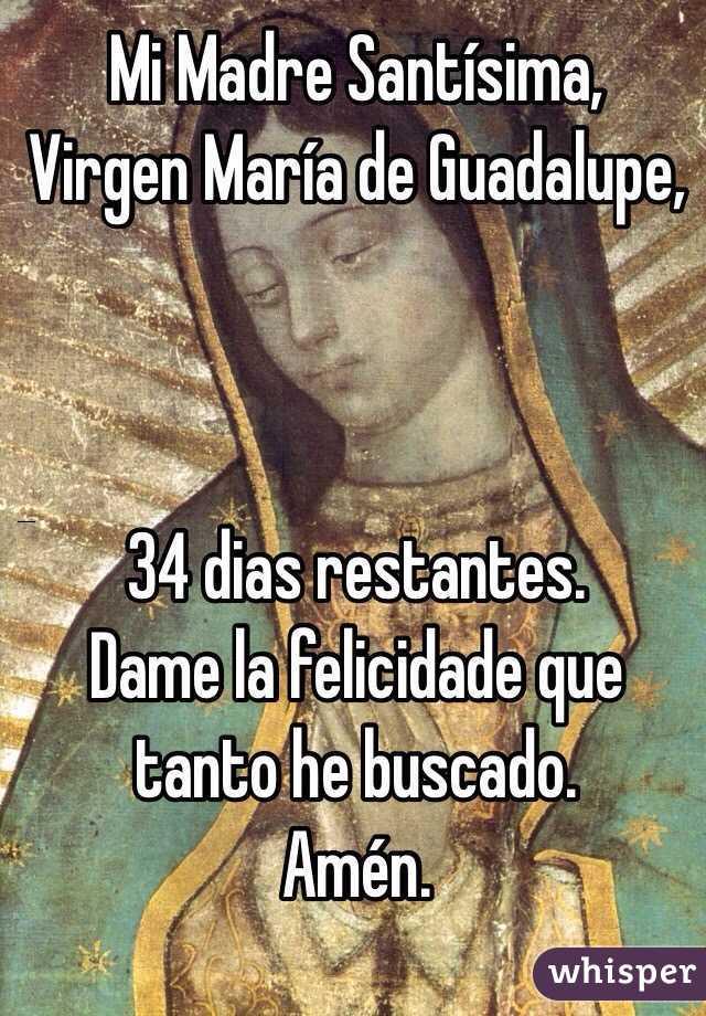Mi Madre Santísima, Virgen María de Guadalupe,    34 dias restantes. Dame la felicidade que tanto he buscado. Amén.