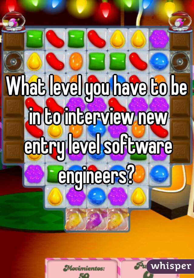 What level you have to be in to interview new entry level software engineers?