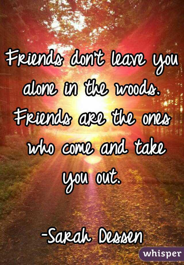 Friends don't leave you alone in the woods.  Friends are the ones who come and take you out.   -Sarah Dessen