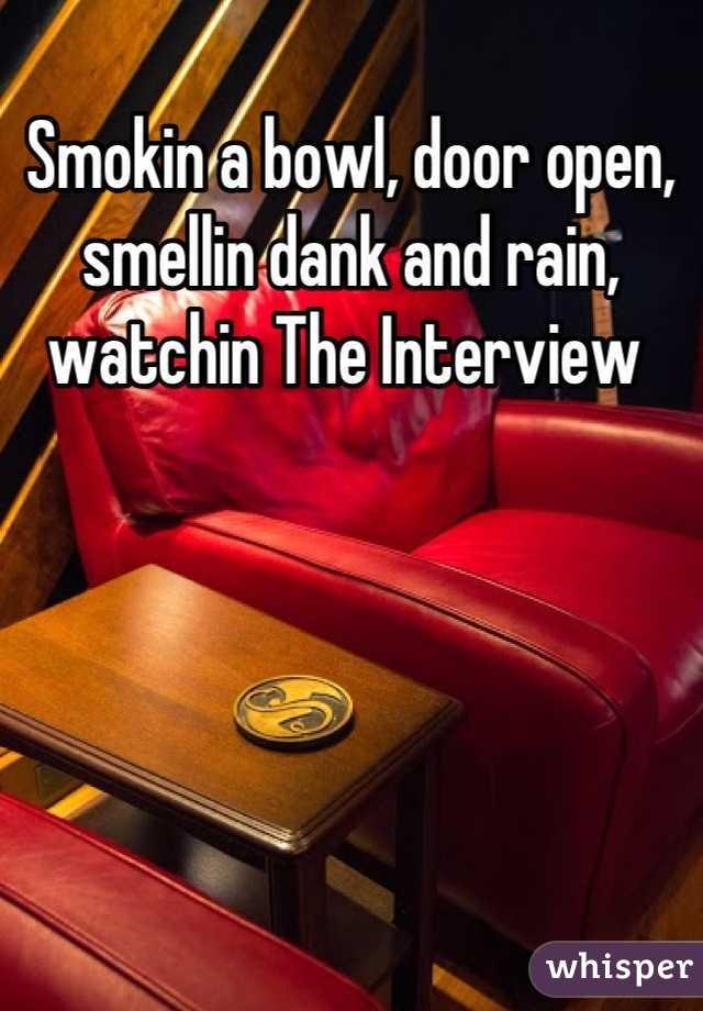 Smokin a bowl, door open, smellin dank and rain, watchin The Interview