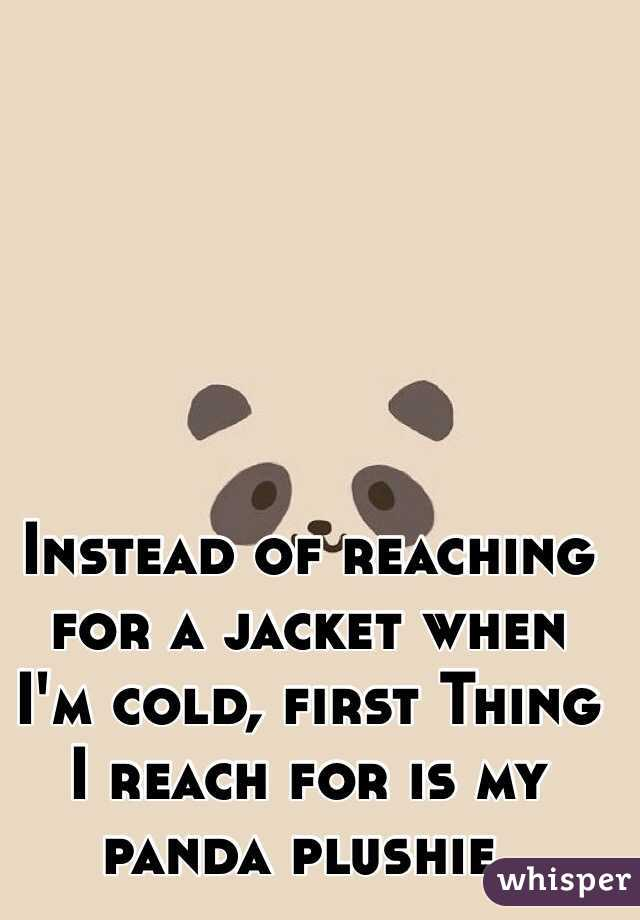 Instead of reaching for a jacket when I'm cold, first Thing I reach for is my panda plushie.