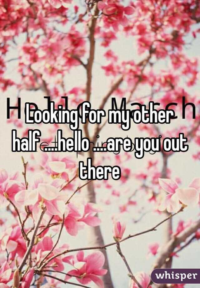 Looking for my other half ....hello ....are you out there