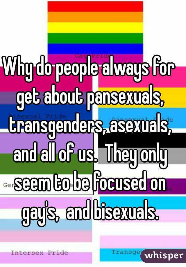 Why do people always for get about pansexuals, transgenders, asexuals, and all of us.  They only seem to be focused on gay's,  and bisexuals.