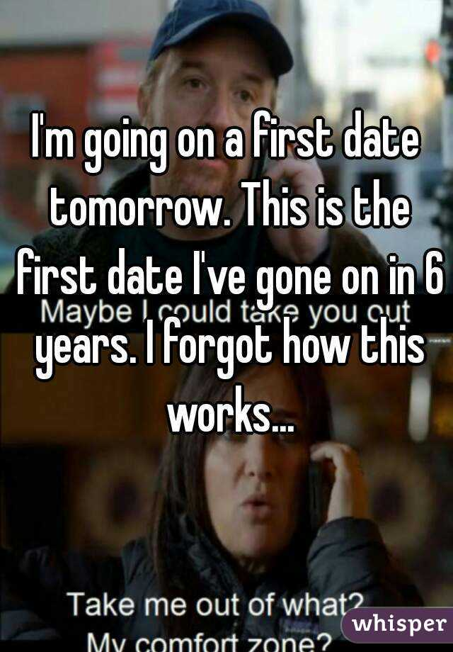 I'm going on a first date tomorrow. This is the first date I've gone on in 6 years. I forgot how this works...