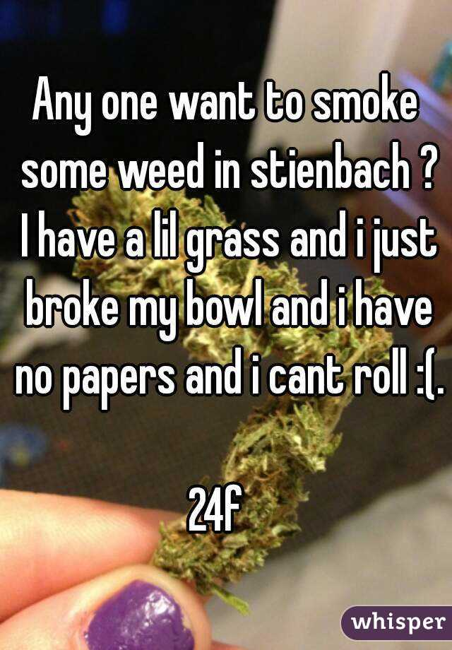 Any one want to smoke some weed in stienbach ? I have a lil grass and i just broke my bowl and i have no papers and i cant roll :(.  24f