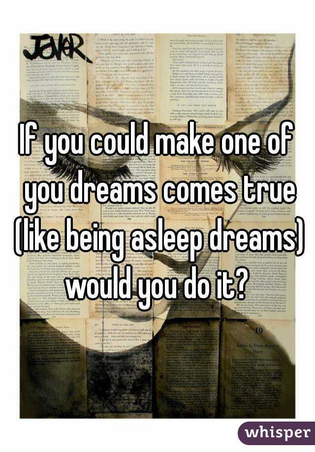 If you could make one of you dreams comes true (like being asleep dreams) would you do it?