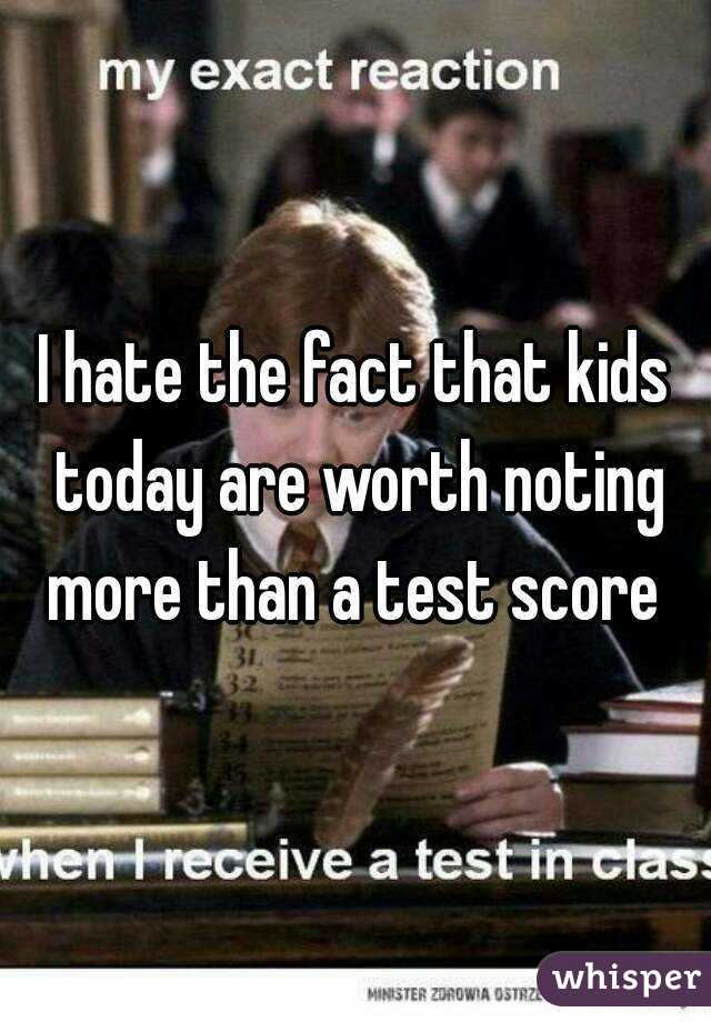 I hate the fact that kids today are worth noting more than a test score