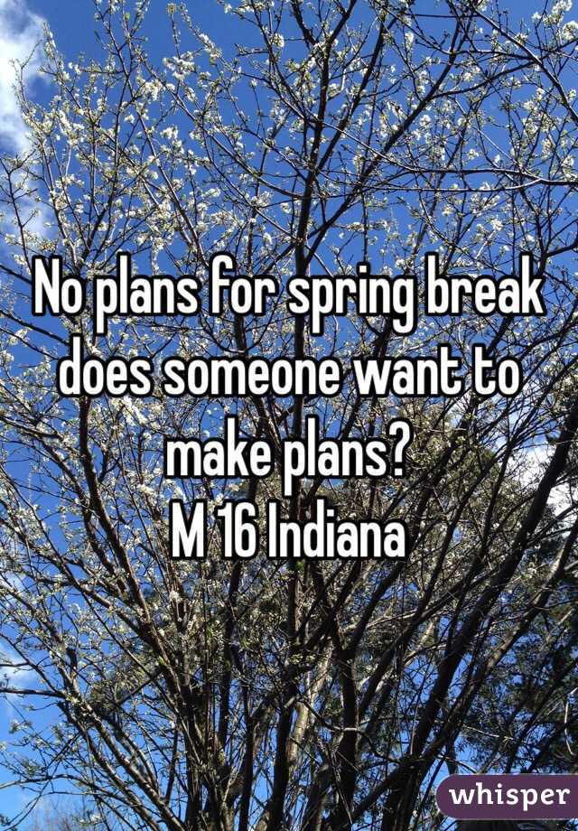 No plans for spring break does someone want to make plans?  M 16 Indiana