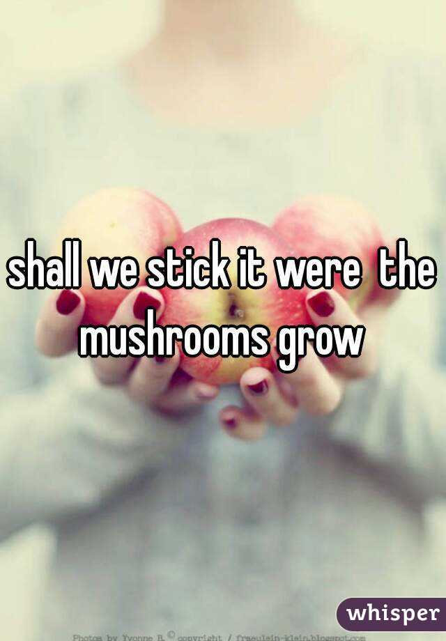 shall we stick it were  the mushrooms grow
