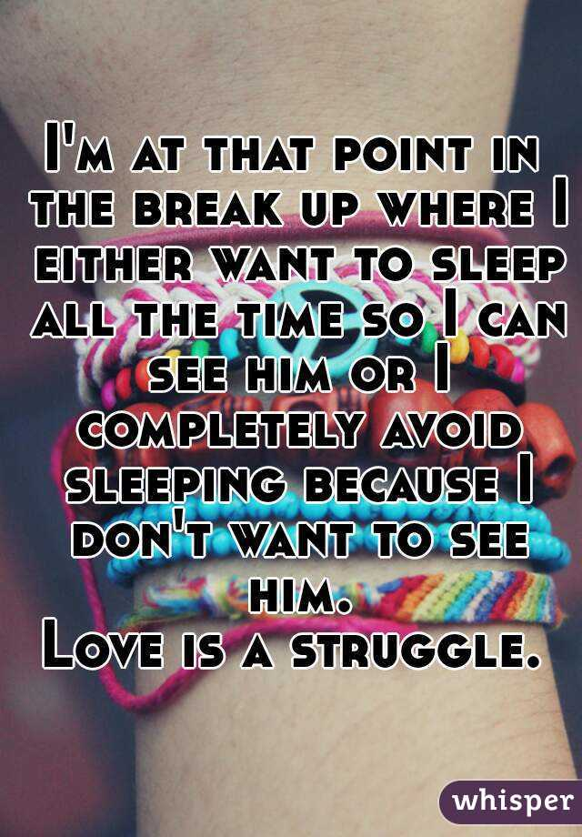 I'm at that point in the break up where I either want to sleep all the time so I can see him or I completely avoid sleeping because I don't want to see him. Love is a struggle.