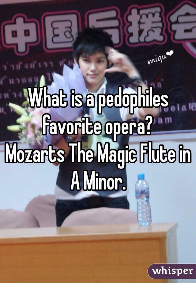 What is a pedophiles favorite opera?  Mozarts The Magic Flute in A Minor.