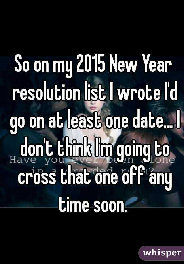 So on my 2015 New Year resolution list I wrote I'd go on at least one date... I don't think I'm going to cross that one off any time soon.