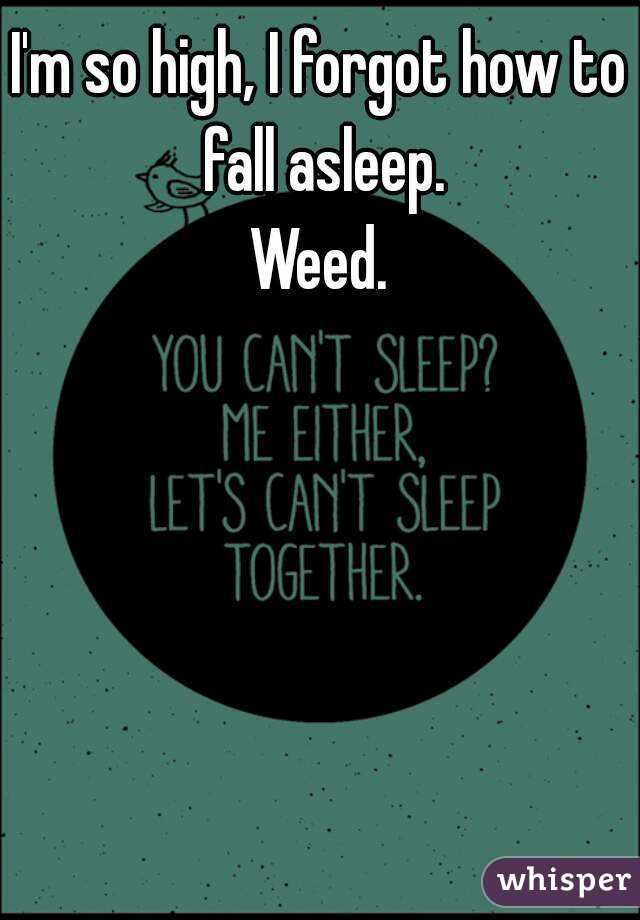 I'm so high, I forgot how to fall asleep. Weed.