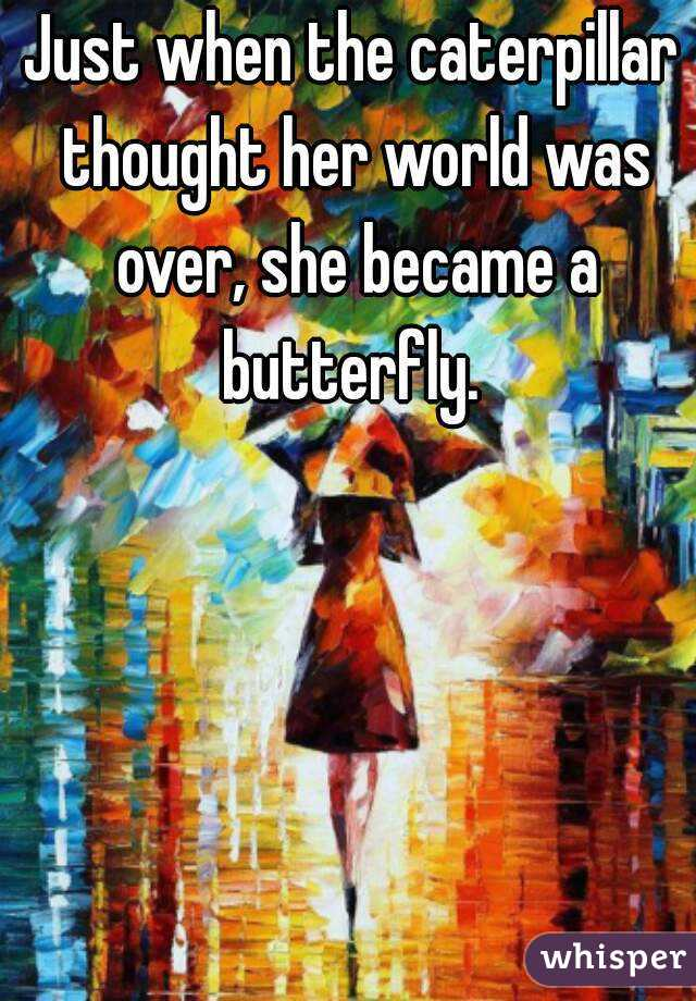 Just when the caterpillar thought her world was over, she became a butterfly.