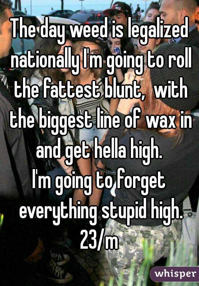 The day weed is legalized nationally I'm going to roll the fattest blunt,  with the biggest line of wax in and get hella high.  I'm going to forget everything stupid high. 23/m