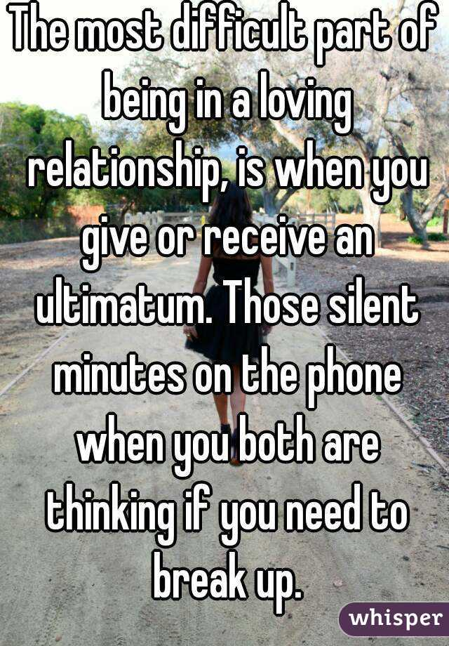 Giving ultimatums in relationships
