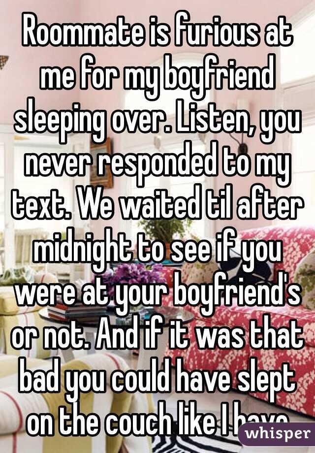 Boyfriend sleeping over
