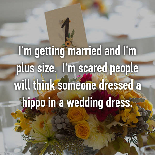 I'm getting married and I'm plus size.  I'm scared people will think someone dressed a hippo in a wedding dress.