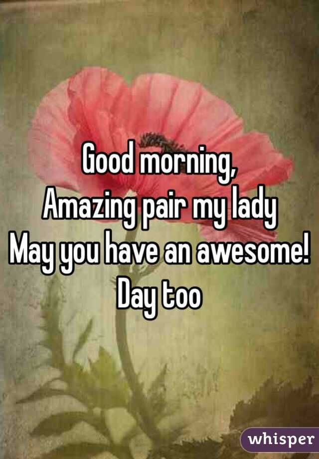good morning amazing pair my lady may you have an awesome day too