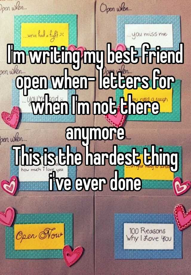 letter to best friend about not