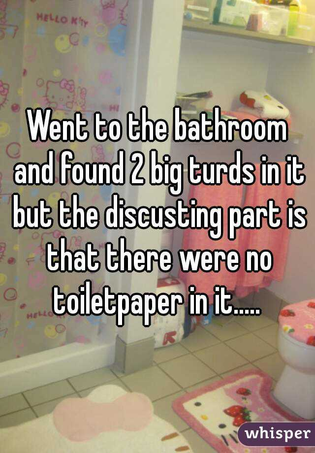 Went to the bathroom and found 2 big turds in it but the discusting part is that there were no toiletpaper in it.....
