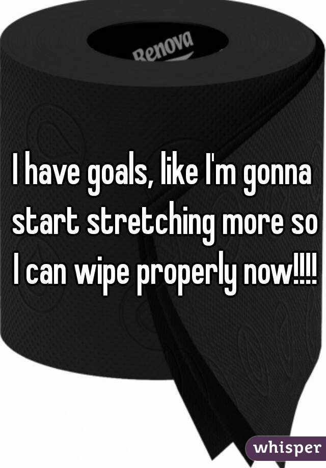 I have goals, like I'm gonna start stretching more so I can wipe properly now!!!!