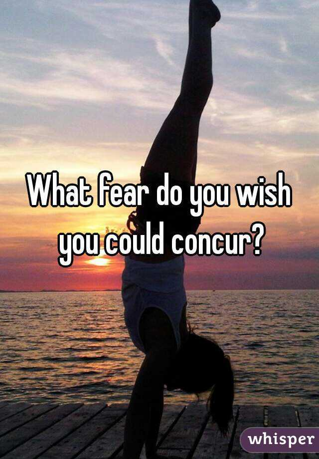 What fear do you wish you could concur?