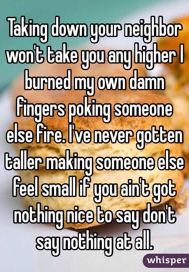 Taking down your neighbor won't take you any higher I burned my own damn fingers poking someone else fire. I've never gotten taller making someone else feel small if you ain't got nothing nice to say don't say nothing at all.