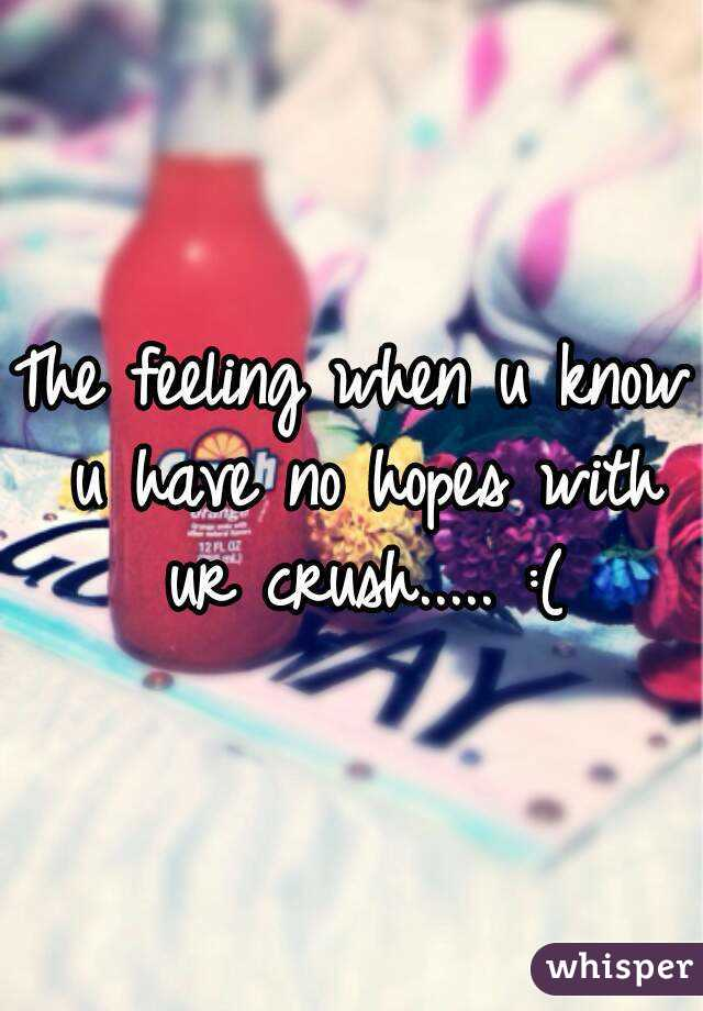 The feeling when u know u have no hopes with ur crush..... :(