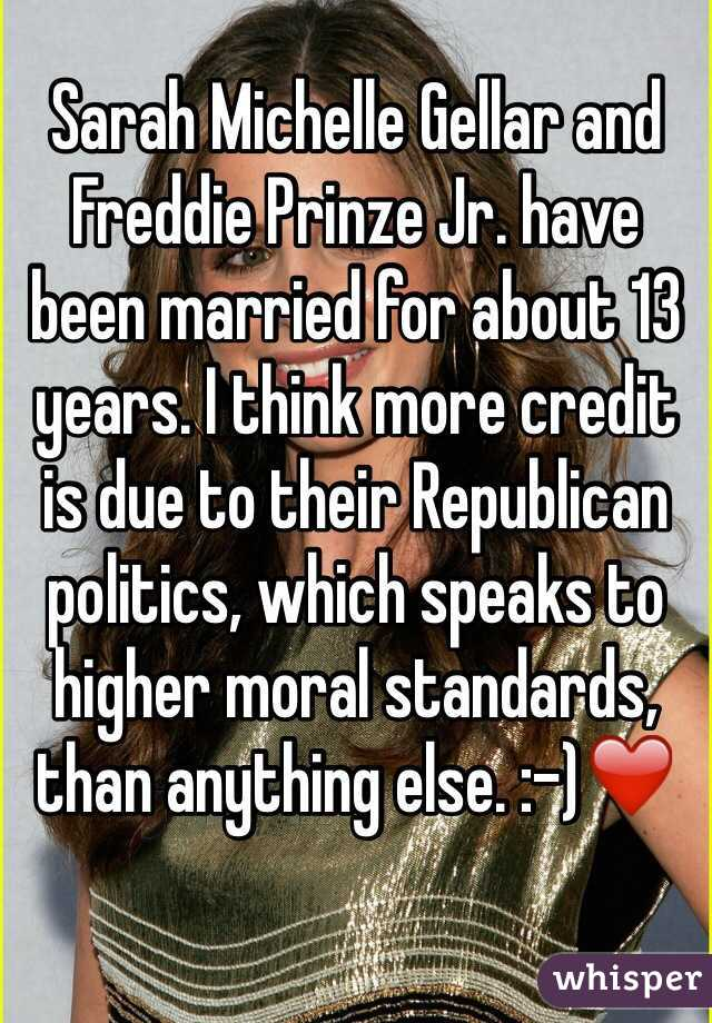 Sarah Michelle Gellar and Freddie Prinze Jr. have been married for about 13 years. I think more credit is due to their Republican politics, which speaks to higher moral standards, than anything else. :-)❤️