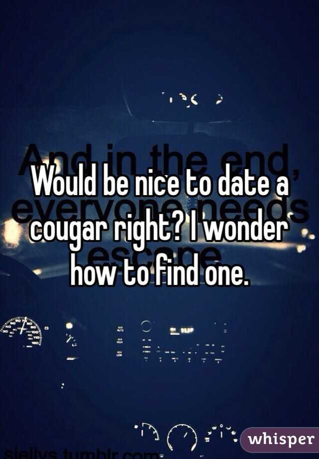 Would be nice to date a cougar right? I wonder how to find one.