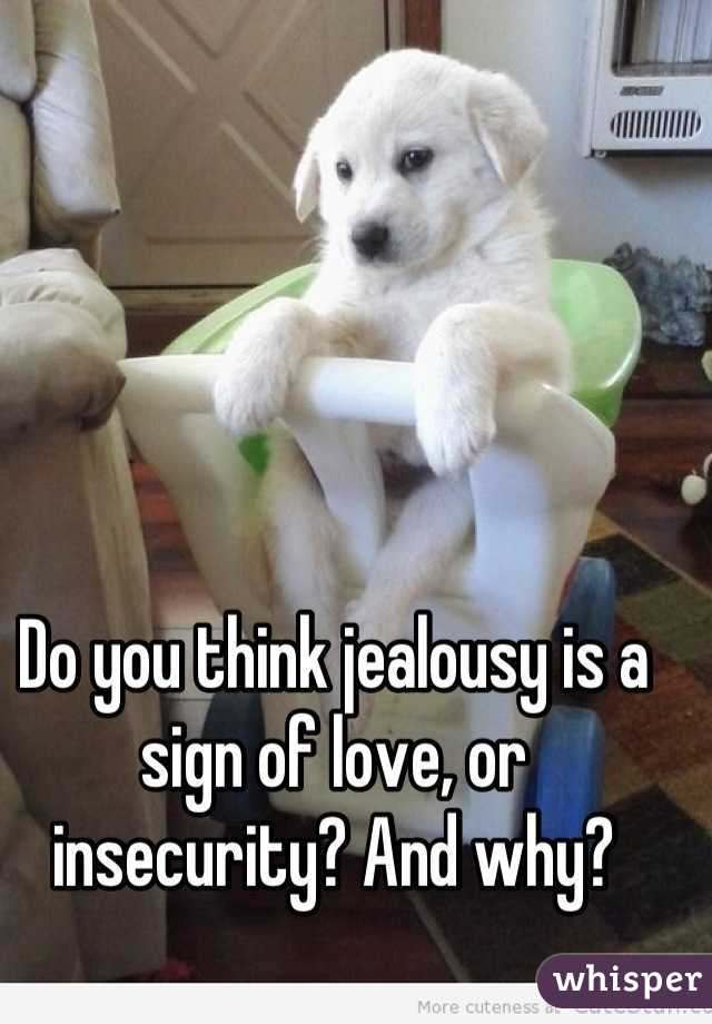 Do you think jealousy is a sign of love, or insecurity? And why?