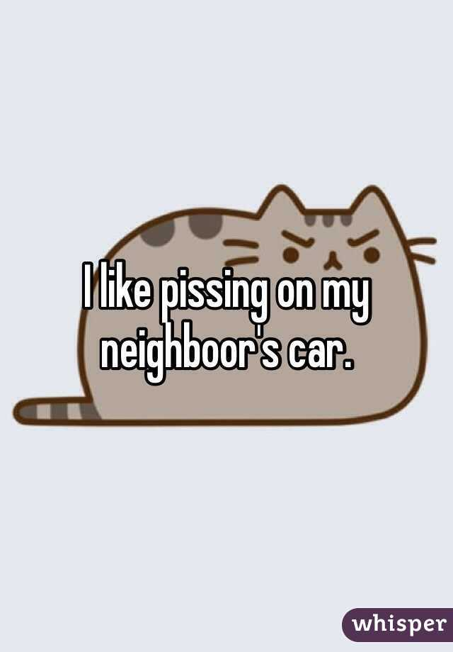 I like pissing on my neighboor's car.