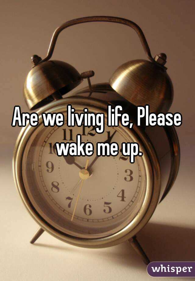 Are we living life, Please wake me up.