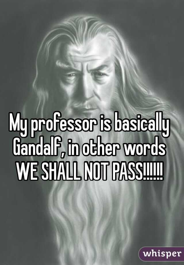 My professor is basically Gandalf, in other words WE SHALL NOT PASS!!!!!!