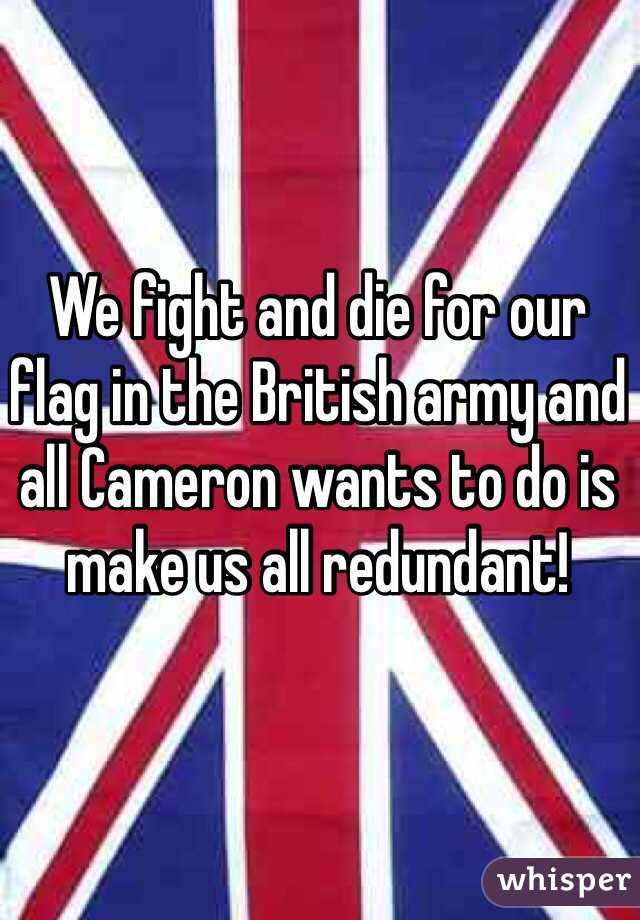 We fight and die for our flag in the British army and all Cameron wants to do is make us all redundant!