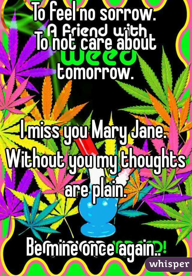 To free my mind.  To let loose and unwind.   To feel no sorrow.  To not care about tomorrow.   I miss you Mary Jane.  Without you my thoughts are plain.   Be mine once again..    Wtb grass.