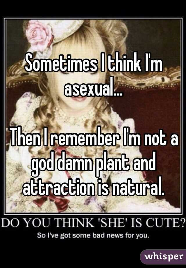 Sometimes I think I'm asexual...  Then I remember I'm not a god damn plant and attraction is natural.