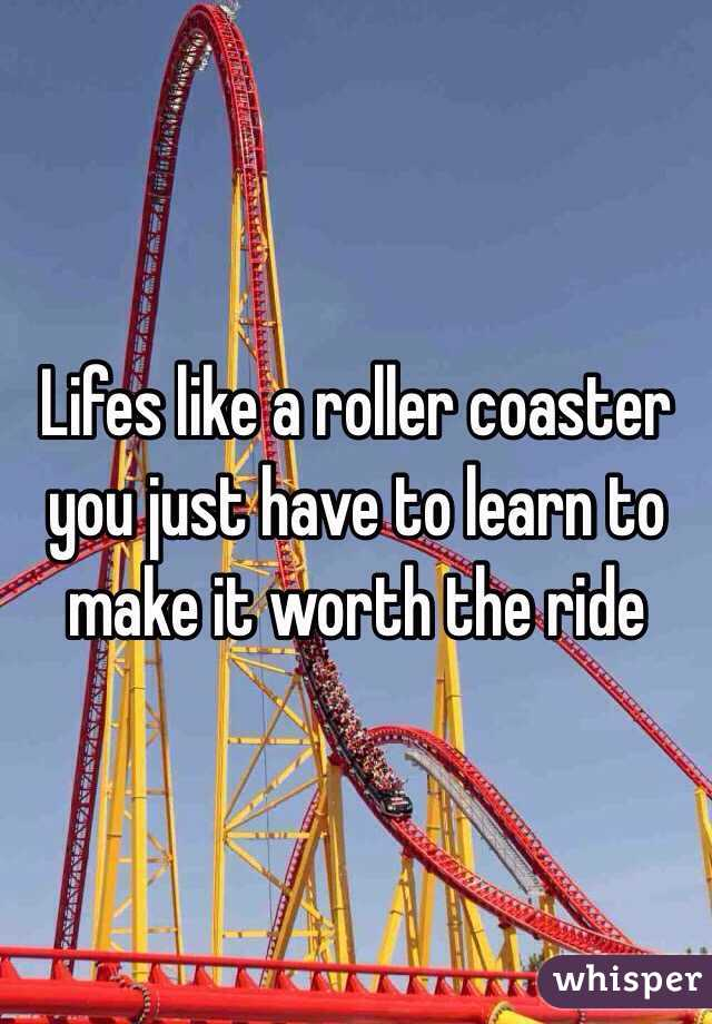 Lifes like a roller coaster you just have to learn to make it worth the ride