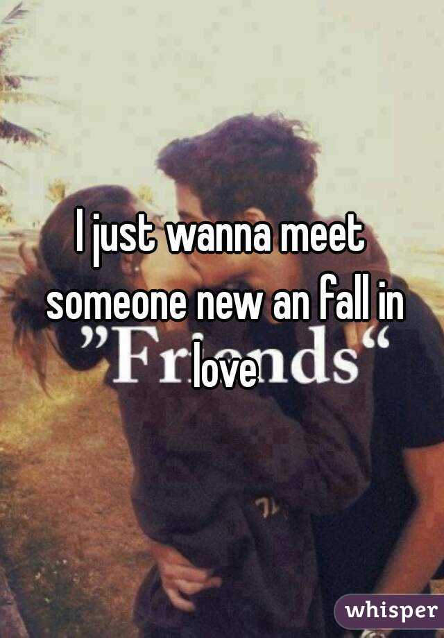 I just wanna meet someone new an fall in love