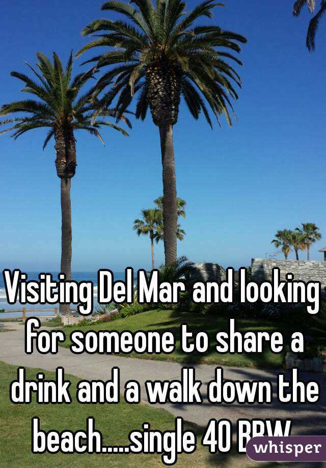 Visiting Del Mar and looking for someone to share a drink and a walk down the beach.....single 40 BBW