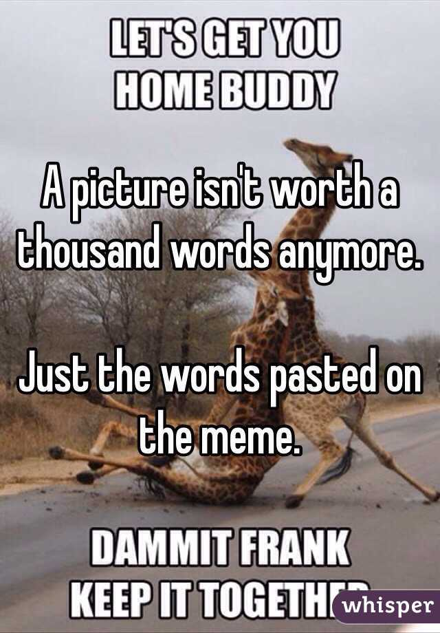 A picture isn't worth a thousand words anymore.   Just the words pasted on the meme.