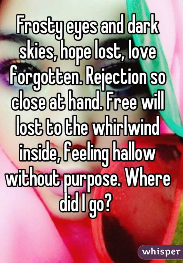 Frosty eyes and dark skies, hope lost, love forgotten. Rejection so close at hand. Free will lost to the whirlwind inside, feeling hallow without purpose. Where did I go?