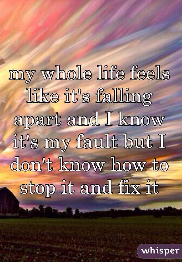 my whole life feels like it's falling apart and I know it's my fault but I don't know how to stop it and fix it